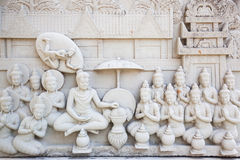 Forntida tegelsten som snider konst av Buddha Royaltyfri Bild