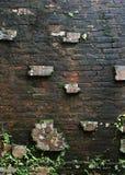 forntida tegelstenvägg Arkivfoton