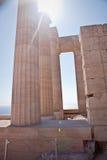 Forntida tempel av Apollo på Lindos Arkivbilder