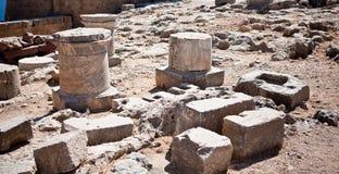 Forntida tempel av Apollo på Lindos Royaltyfri Fotografi