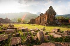 Forntida tempel av vaten Phou, södra Laos Vaten Phou var en del av en khmervälden centrerat på Angkor till den sydvästUNESCO arkivbild