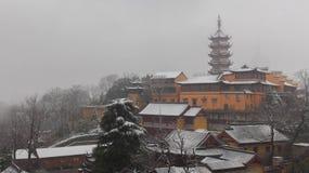 Forntida tempel för vinterhane Royaltyfri Bild