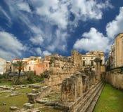 forntida tempel för apollo grek s syracuse Arkivbilder