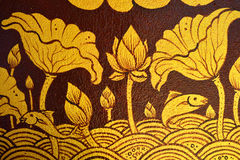 Forntida thai målning på väggen i den buddha templet Royaltyfri Foto