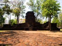 Forntida thai slott eller Prasat Muang Singh i Kanjanaburi, Thail Arkivfoto