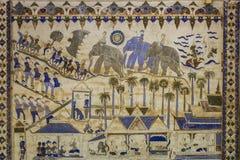 Forntida thailändsk Isan vägg- målning royaltyfria bilder
