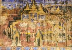 Forntida thailändsk vägg- målning arkivbilder