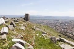 forntida theatre Pergamum kalkon Arkivfoto