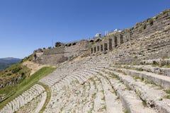 forntida theatre Pergamum kalkon Arkivbild