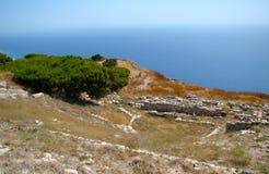 Forntida Thira, Santorini, Grekland Fotografering för Bildbyråer