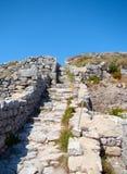 Forntida Thira, Santorini, Grekland Arkivbild