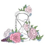 Forntida timglas och härliga blommor Pioner och rosor Vektorillustration för en vykort eller en affisch royaltyfri illustrationer