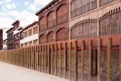 Forntida tjurfäktningsarena i Peñafiel, Spanien Fotografering för Bildbyråer