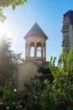 Forntida torn för kyrklig klocka och härligt omge för trädgård ljust solsken royaltyfria foton