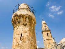 Forntida torn i Jerusalem den gamla staden, Israel royaltyfria bilder