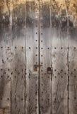 Forntida trädörr Arkivbilder