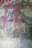 Forntida traditionella Siamese vägg- väggmålningar från den sena Ayutthaya perioden på Tamnak Phra Bhuta Khosajarn i den historis arkivfoto