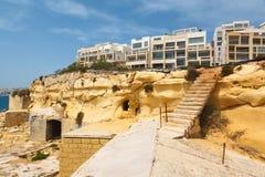 Forntida trappa i fortet Tigne (Sliema) Royaltyfri Bild