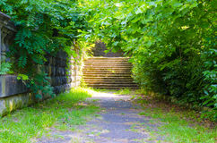 Forntida trappa och väggen Royaltyfria Bilder