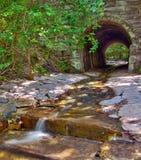 Forntida tunnel med strömmen royaltyfri foto