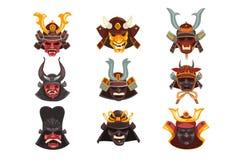 Forntida uppsättning för maskeringar för samurajkrigarekrig, symboler av den traditionella japanska kulturvektorillustrationen på stock illustrationer