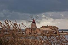 Forntida väderkvarn i de salta pannorna av marsalan Sicilien Arkivfoto