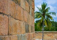 Forntida vägg av tempelet, Indien Arkivbilder