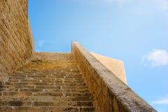 Forntida väggar av citadellen, Victoria, Malta Arkivbilder