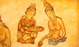 Forntida väggmålningar av molniga jungfruar på Sigiriya Royaltyfria Bilder