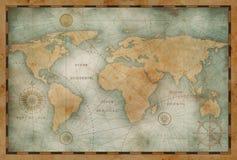 Forntida världskartaillustration som baseras på bilden som möbleras av NASA stock illustrationer
