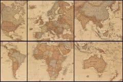 Forntida världskartas collage arkivfoton