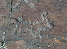 Forntida vagga målningar Arkivfoto