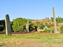 Forntida vagga monumentet Axum Arkivbilder