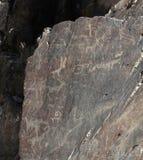Forntida vagga teckningspetroglyphen, hjort, hunden, tjuren, buffeln, hu Arkivbild