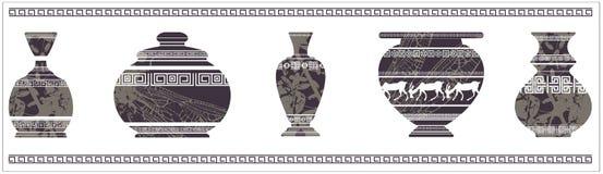 Forntida vas med den grekiska prydnaden Arkivfoto