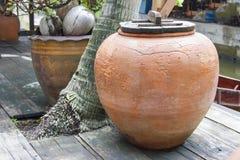 Forntida vattenkrus som sätts under kokosnöten arkivbilder