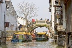 Forntida vattenstad, Suzhou, Kina Royaltyfria Bilder