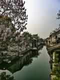 Forntida vattenstad Xitang Arkivfoto