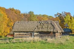 Forntida vide- ladugård med ett sugrörtak Arkivfoto