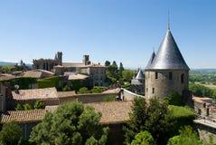 forntida watchtower för carcassonkyrkasikt Royaltyfria Foton