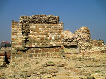 Forntida watchtower i Nessebar, Bulgarien Arkivbild