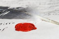 forntida wax för skyddsremsa för feamanuskriptparchment Royaltyfri Foto