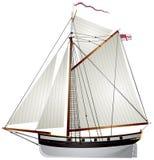 Forntida yacht för segelbåt royaltyfri illustrationer