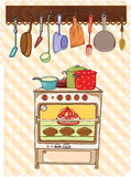 Fornuis en keukenhulpmiddel Stock Foto