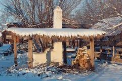 Fornuis onder een luifel in de winter Royalty-vrije Stock Fotografie