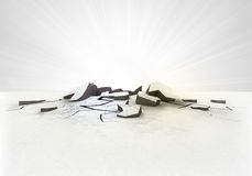 Foro al suolo incrinato vuoto con il chiarore su bianco Immagini Stock Libere da Diritti