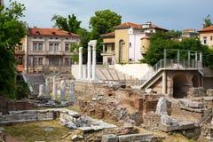 Foro antiguo con Odeon en Plovdiv, Bulgaria Imagenes de archivo