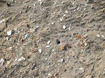 Foro del granchio su una spiaggia caraibica circondata dai pezzi di fondo di plastica fotografie stock libere da diritti