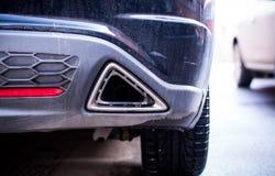 Foro del tubo di scarico dell'automobile Fotografie Stock