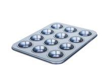 Foro del vassoio dei muffin di cottura dodicesimo rivestimento antiaderante Isolato su wh Immagini Stock
